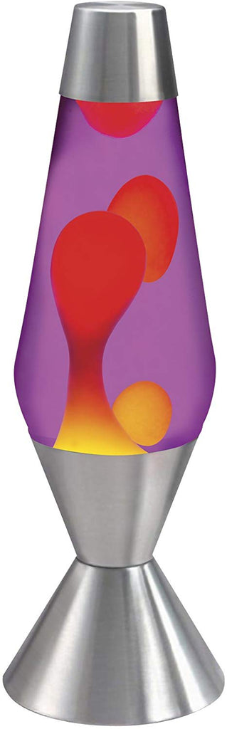 Lava the Original 16.3-Inch Silver Base Lamp with Yellow Wax in Purple Liquid
