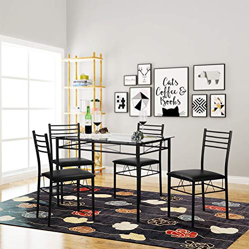 VECELO 5 Piece Dining Table Set with Chairs [4 Placemats Included], Black img 1