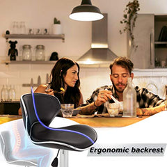 New Modern Adjustable Synthetic Leather Swivel Bar Stools Chairs-Sets of 2 img 3