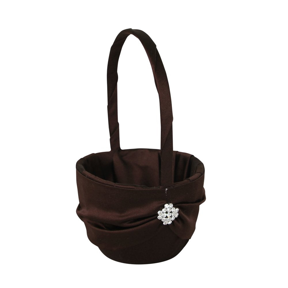 Ivy Lane Design Garbo Collection Flower Girl Basket for Weddings, Chocolate Brown