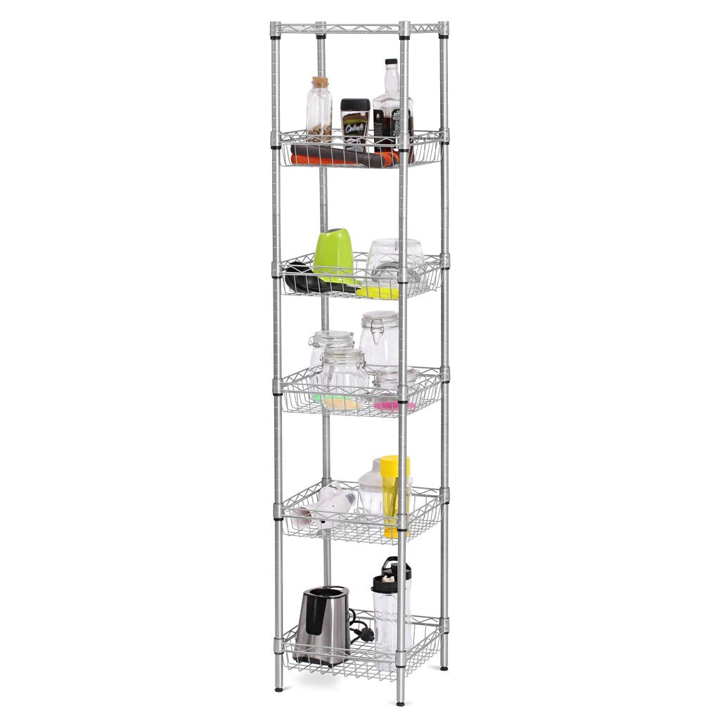 LANGRIA 6-Tier Bathroom Shelving Supreme Shelving Units, Storage Rack Corner Shelf Organization Utility Rack for Home Kitchen Living Room Bedroom Laun