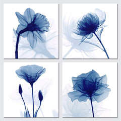 Pyradecor Large Blue Flickering Flower Modern Abstract Paintings Canvas Wall Art Gallery Wrapped Grace Floral Pictures on Canvas Prints 4 Panels Artwo