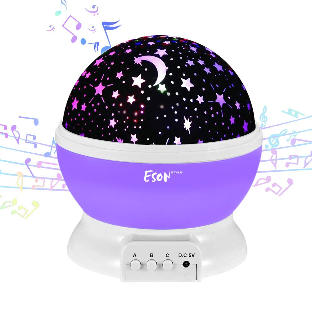 [Update]Esonstyle Musical Night Light,360 Rotating Star Lamp Baby Musical Lamp with Rechargeable Battery,12 Songs to Relax for Sleep Kids Babies Birth