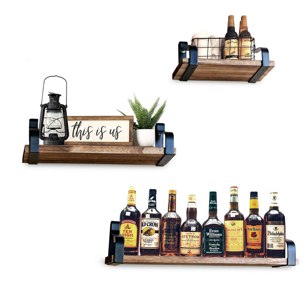 Decorative Vintage Shelves SET of 3 with Popular Rustic Accent. Floating Wall Mounted, Easy Install Hardware Included, Real Wood, Perfect Storage. For
