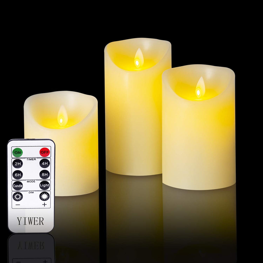 "YIWER Flameless Candles, 4"" 5"" 6"" Set of 3 Real Wax Not Plastic Pillars, Include Realistic Dancing LED Flames and 10-Key Remote Control with 2/4/6/8-h"