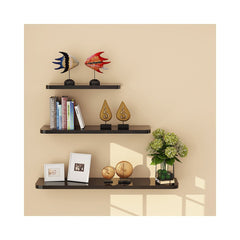 WUDENHOM Wall Mountable Shelves, Present Set of 3 Easy Install Fashion Display Wood Modren Floating Shelves for Home Office Nursery(White Maple Color,