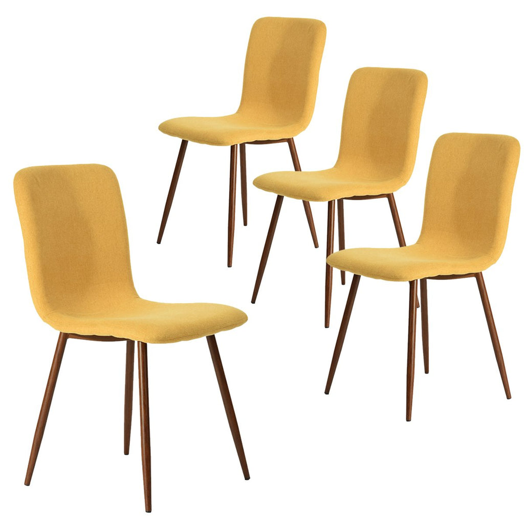 Coavas Set of 4 Dining Chairs Fabric Cushion Kitchen Side Chairs with Sturdy Metal Legs for Dining Room, Yellow