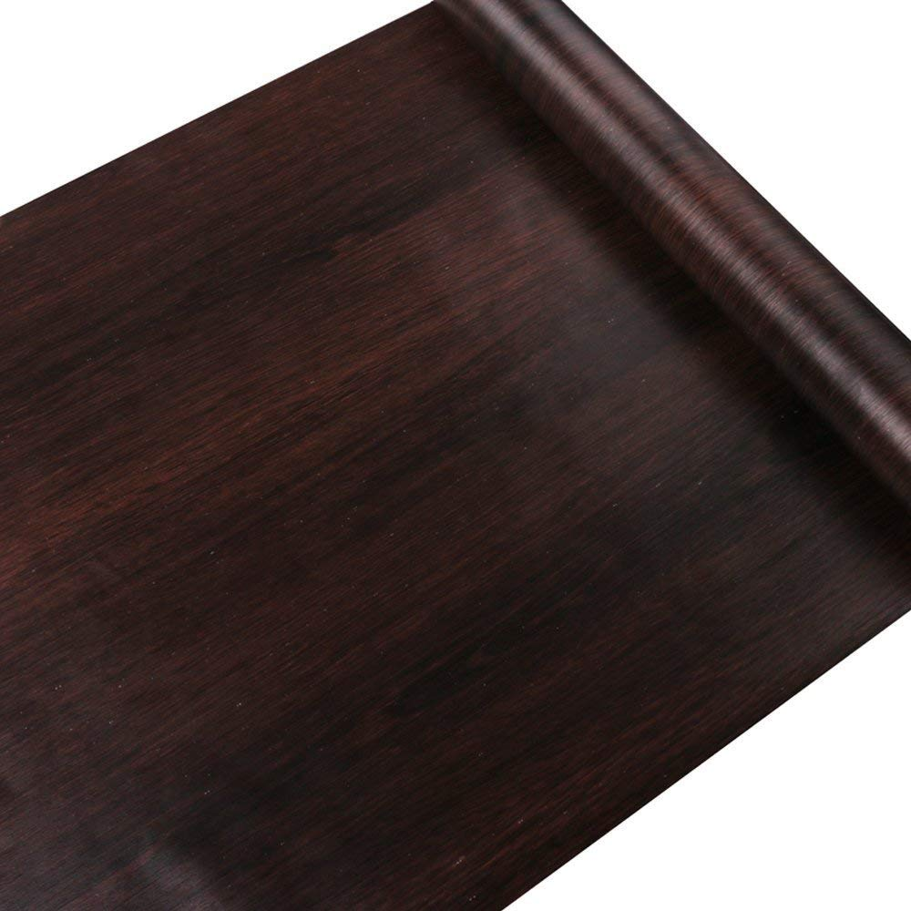 SimpleLife4U Dark Coffee Wood Grain Contact Paper Pre-pasted Shelf Liner Moisture-proof Dresser Drawer Sticker 17.7 Inch By 9.8 Feet