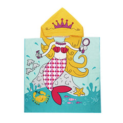Nibesser 430GSM Mermaid Hooded Towel for Girls Quick Dry Microfiber Cute Cartoon Hooded Kid's Bath Towel Beach Towel Pool Towel for Kids