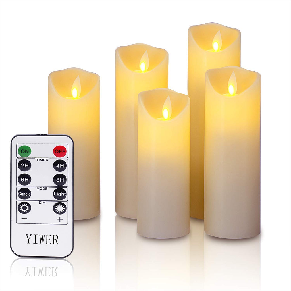 "LED candles,5.5""/6""/6.5""/7""/8""Set of 5 Real Wax Battery Flameless Candles Include Realistic Dancing LED Flames and 10-key Remote Control with 2/4/6/8-"