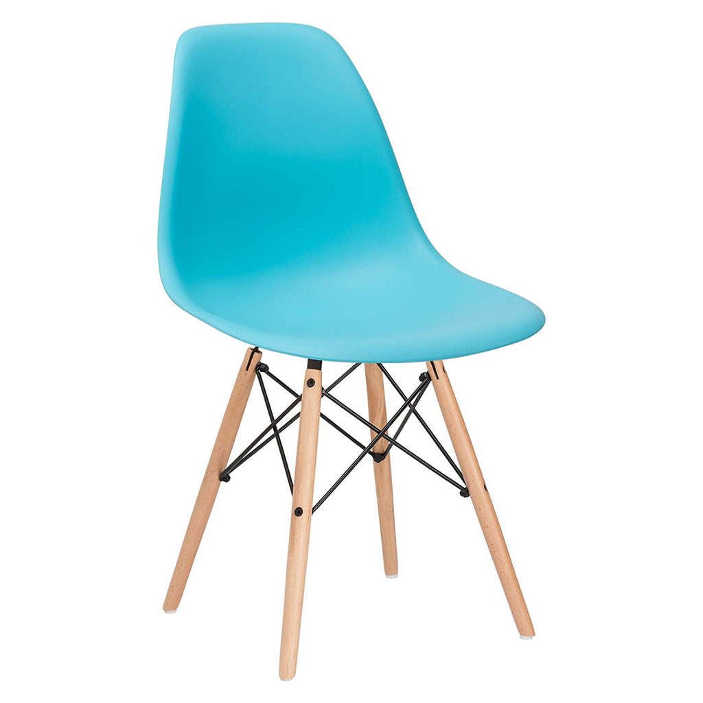 Poly and Bark Eames Style Molded Plastic Dowel-Leg Vortex Side Chair in Aqua