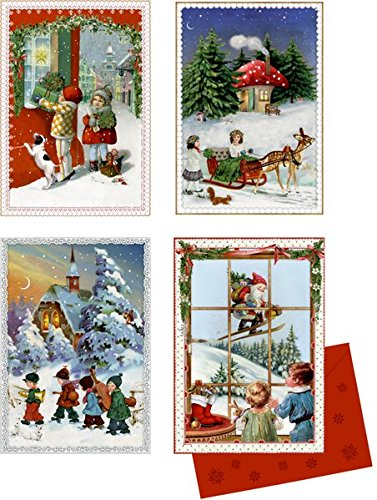 Coppenrath Unique Advent Christmas Calendar Cards - Beautiful Fold Out - Premium Made in Germany -Four Vintage Christmas Settings