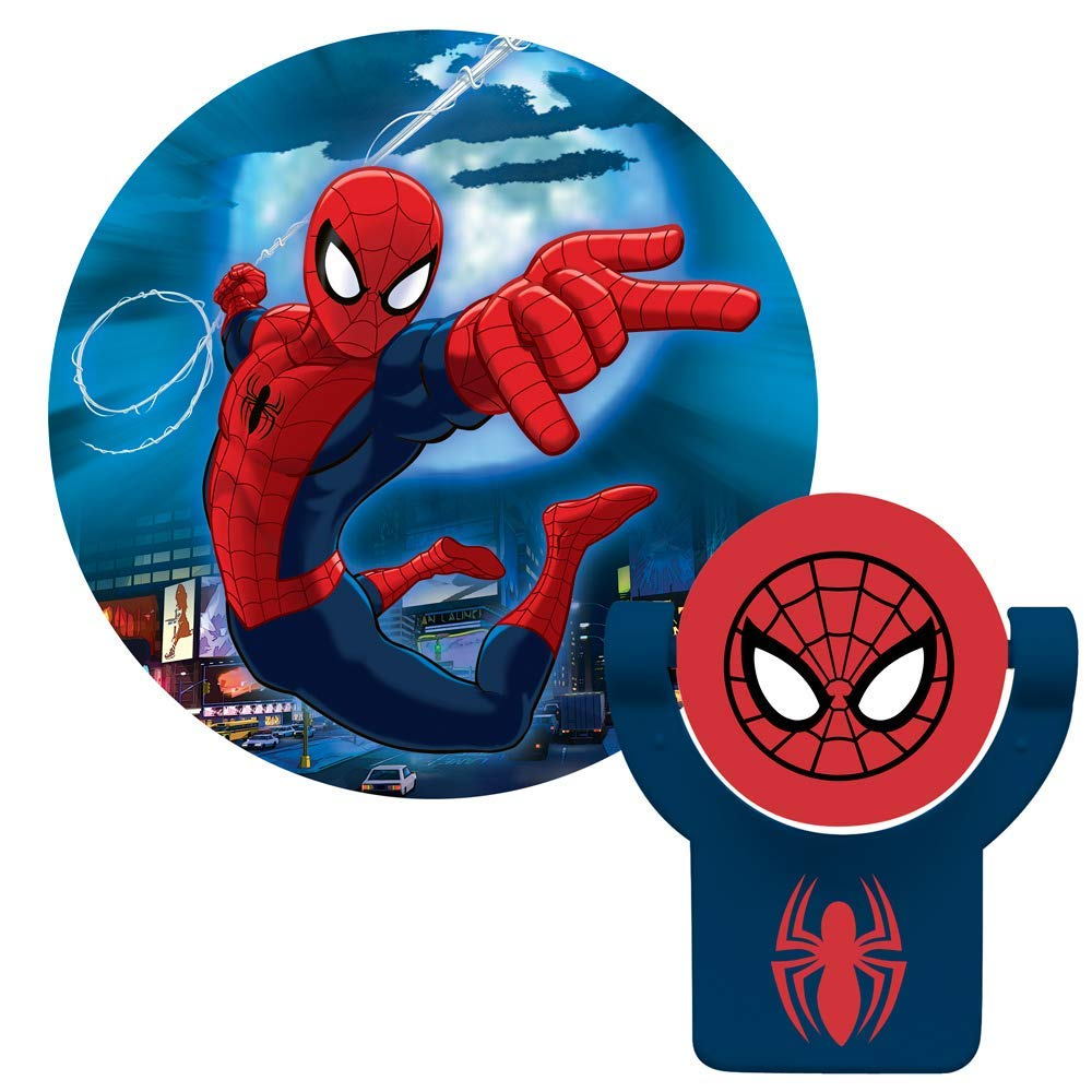 Projectables 13341 Ultimate Spider-Man LED Plug-In Night Light, Red and Blue, Collector's Edition, Light Sensing, Auto On/Off, Projects Marvel C