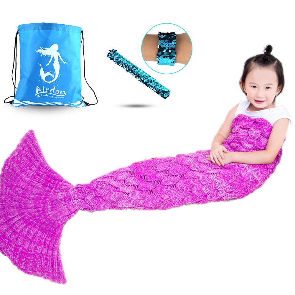 Airdom Mermaid Tail Blanket for Kids Toys Little Crochet Mermaid Blankets Best Birthday for Girls All Seasons Sleeping Throws 55.18 inch x 27.56 inch(