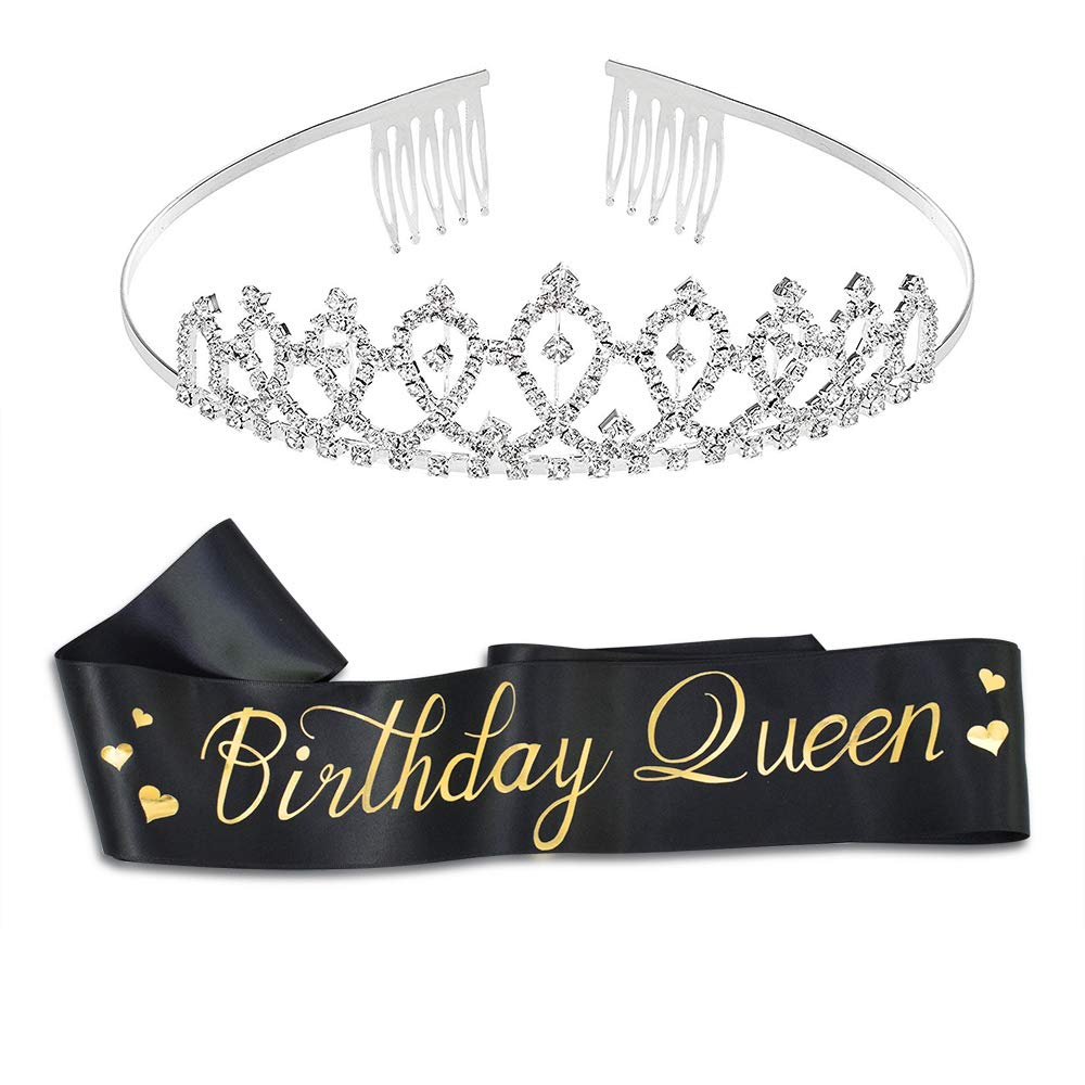 """Birthday Queen"" Sash & Rhinestone Tiara Kit - 16th 18th 21st 30th 40th 50th 60th Birthday Sash Birthday Gifts Party Favors, Supplies and Decorations"