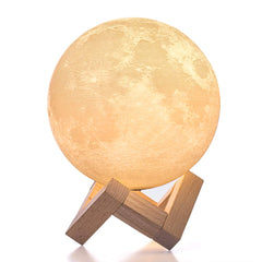 BRIGHTWORLD Moon Lamp, 3D Printing Lunar Lamp Night Light as Kids Women Girls Gift, USB Charging and Touch Control Brightness Two Tone Warm and Cool W