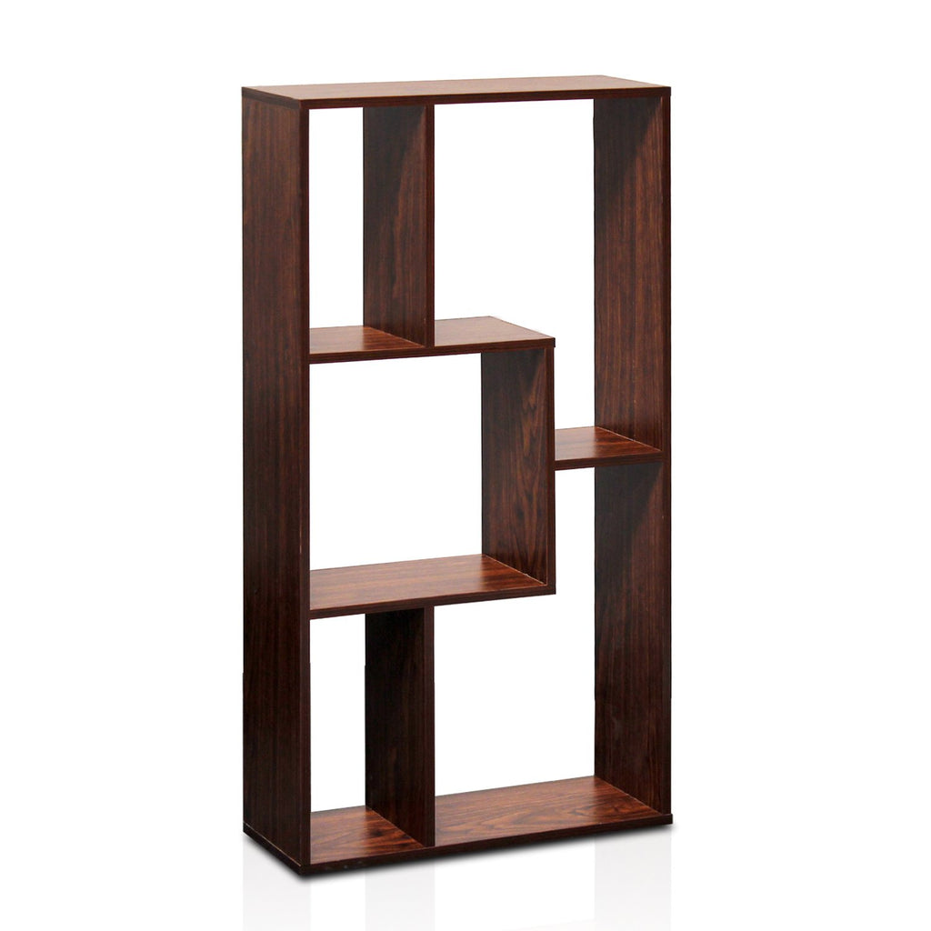 Furinno FNAJ-11106 Boyate Magic Cube Five Grid Storage Shelf Walnut