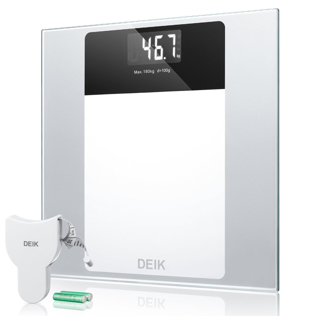 Deik Digital Body Weight Bathroom Scale with Step-On Technology Large LCD Backlight Display, 400 Pounds Tempered Glass Scale with Free Body Tape Measu
