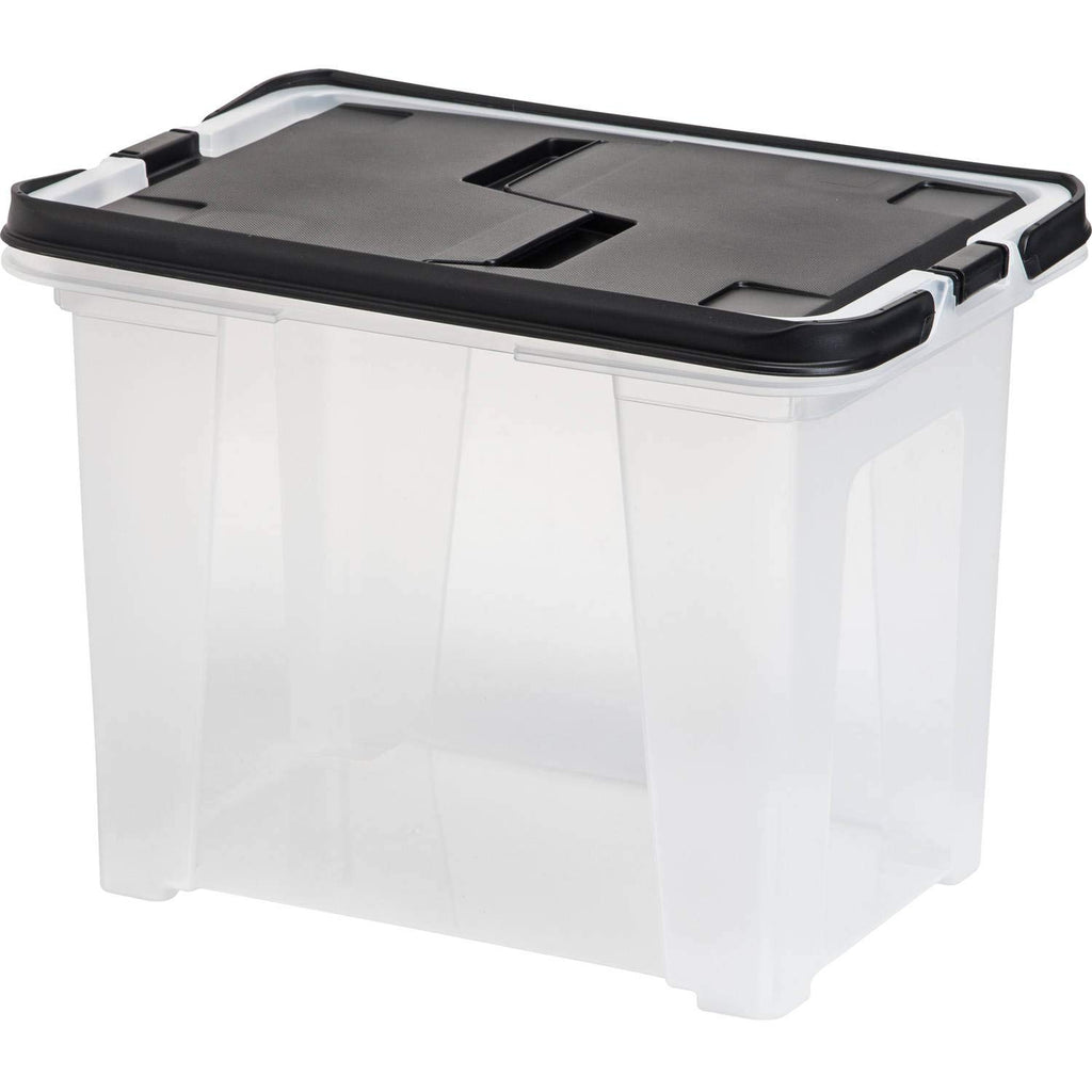 IRIS USA, Inc. WHFB-24 Wing-Lid File Box with Handle, Clear/Black Lid, (Set of 8) + Free Dust Cleaning Cloth