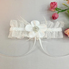 The Crafty Owl White Wedding Garter with Crystal and Feathers for Brides/Valentine Day/Anniversary