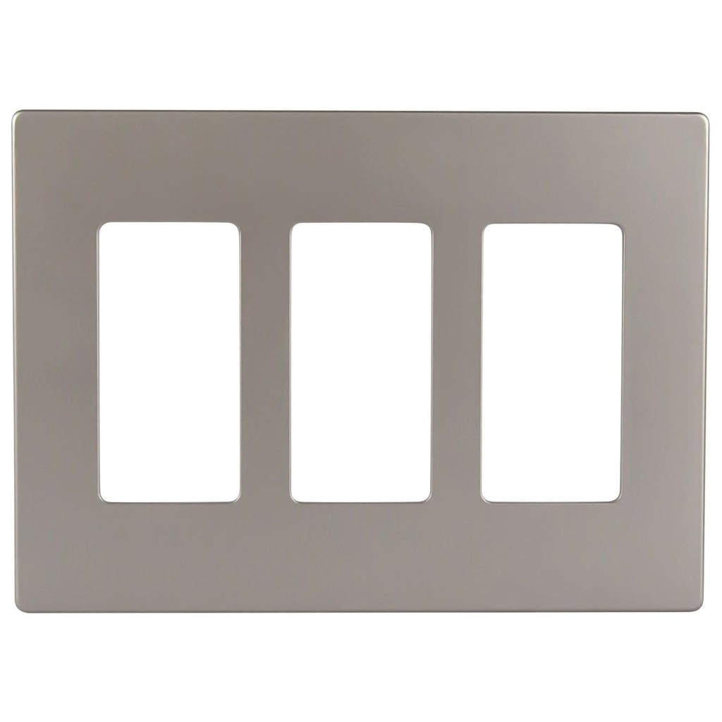 Enerlites SI8833-LA Screwless Decorator Wall Plate Child Safe Cover, Standard Size, Polycarbonate Thermoplastic, 3 Gang, Light Almond