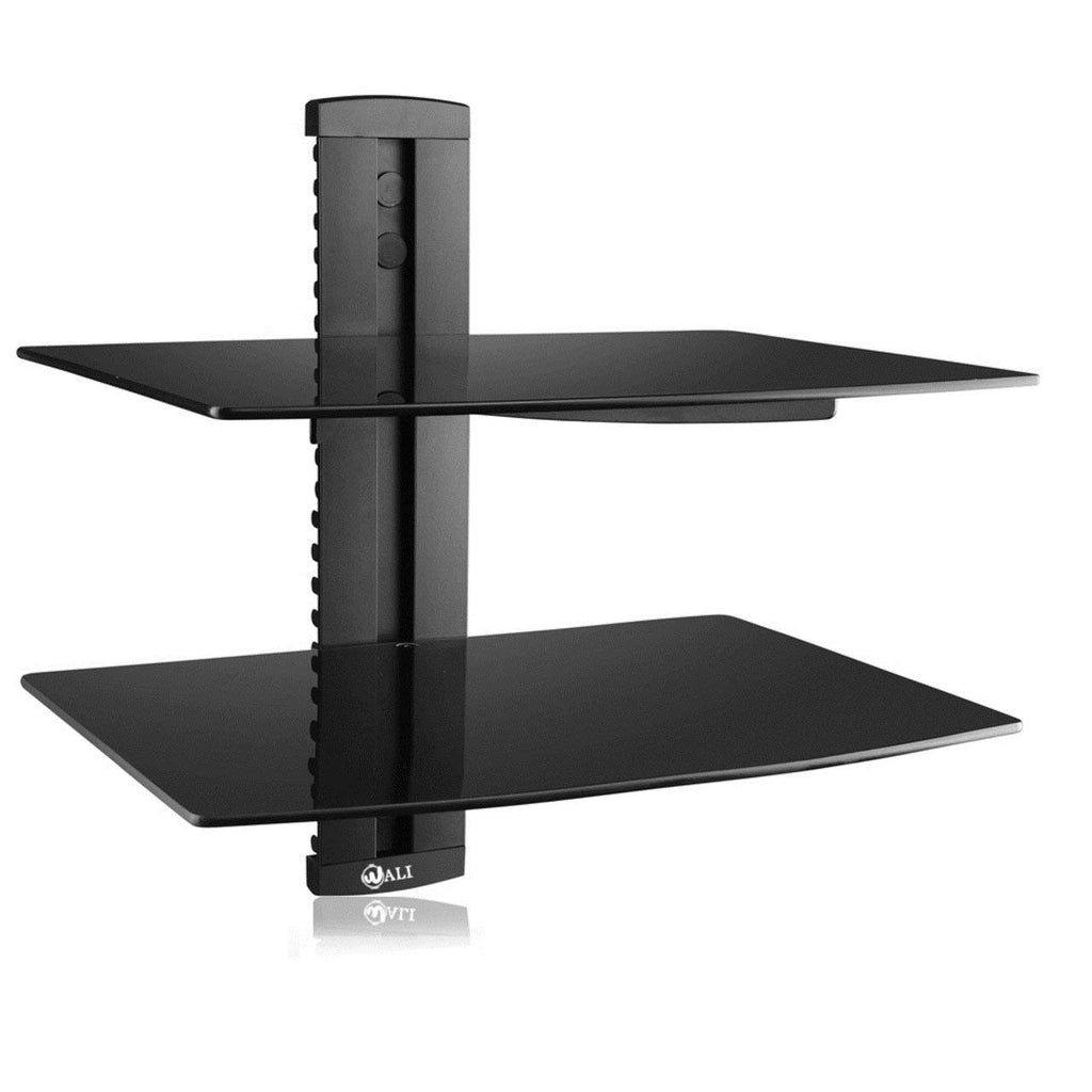 WALI Floating Wall Mounted Shelf with Strengthened Tempered Glasses for DVD Players, Cable Boxes, Games Consoles, TV Accessories (CS303), 3 Shelf, Bla