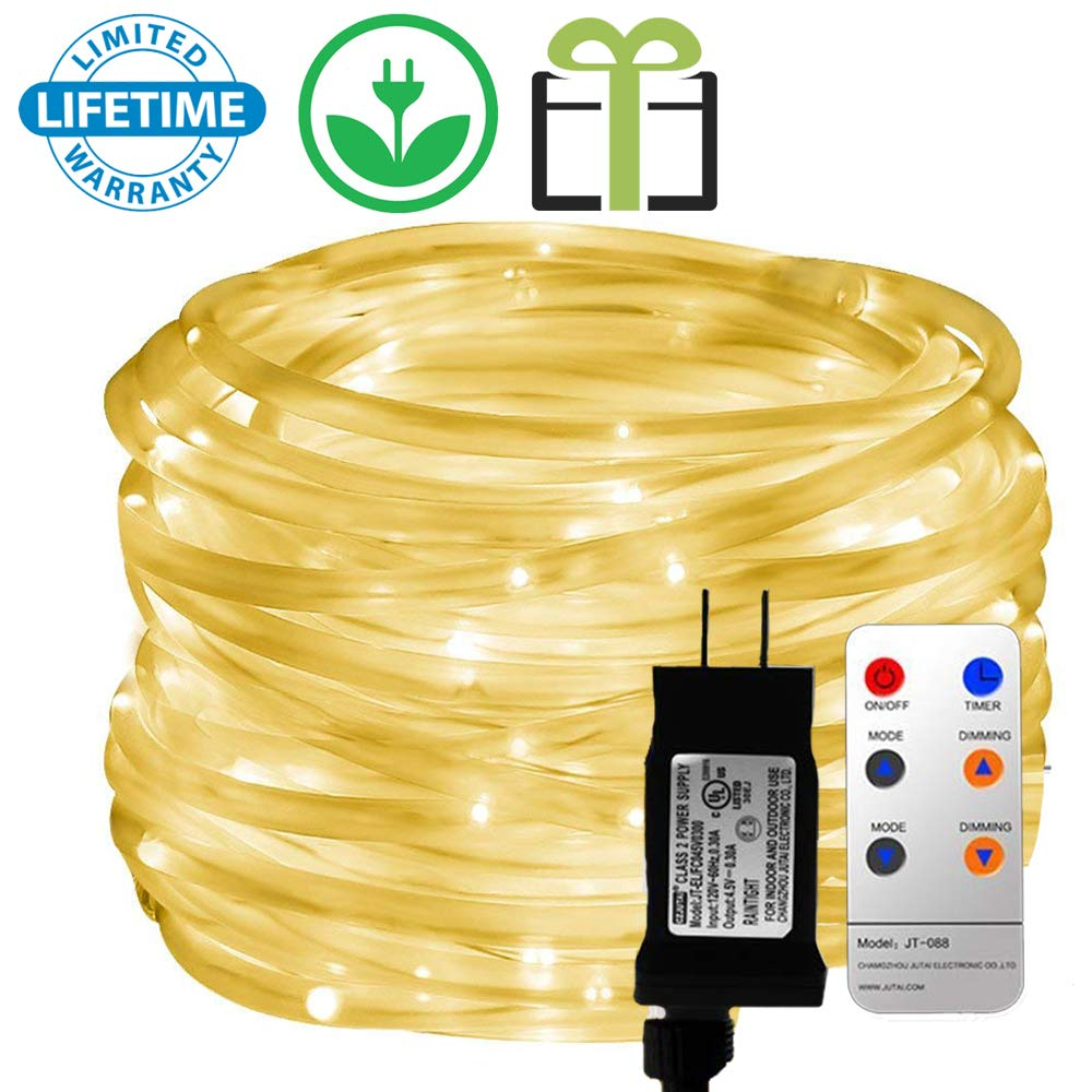 Outdoor LED Rope Lights, Malivent Remote 33foot 136 LED Swimming Pool Indoor Rope Lights, 8 Modes/Timer, Tube Lights Waterproof Color Changing String