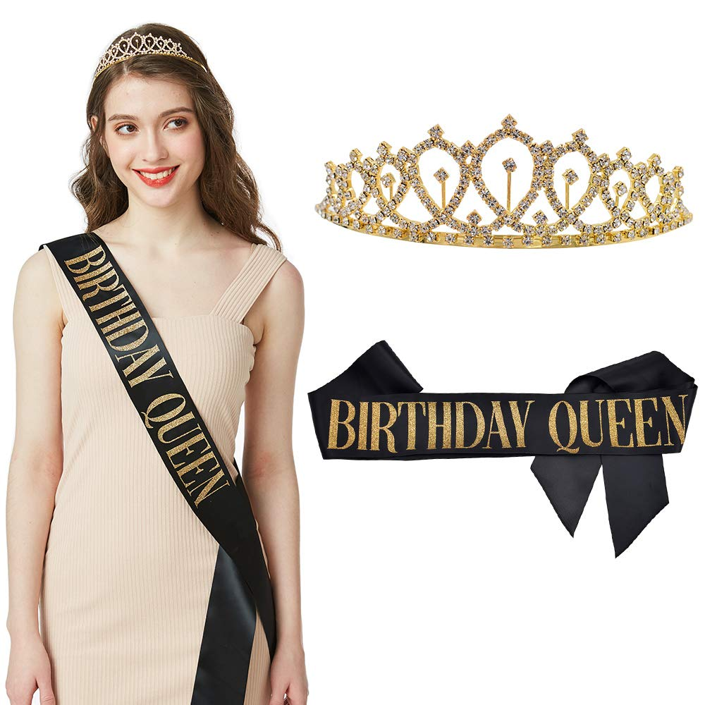 """Birthday Queen"" Sash - 15th 16th 18th 21st 30th 40th 50th 60th Birthday Sash Birthday Gifts Birthday Party Favors Supplies and Decorations (Sash & Rh"