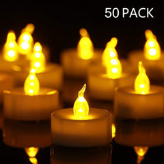 Tea Lights Flameless LED Tea Lights Candles (50 Pack,$0.32/Count), Flickering Warm Yellow 100+ Hours Battery-powered Tealight Candle. Ideal for Party,