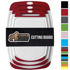 GORILLA GRIP Original Reversible Cutting Board (3-Piece), BPA Free, Dishwasher Safe, Juice Grooves, Larger Thicker Boards, Easy Grip Handle, Non-Porou