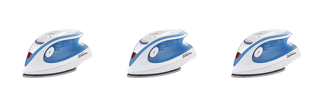 Sunbeam Hot-2-Trot 800 Watt Compact Non-Stick Soleplate Travel Iron, GCSBTR-100-000, 3 Pack
