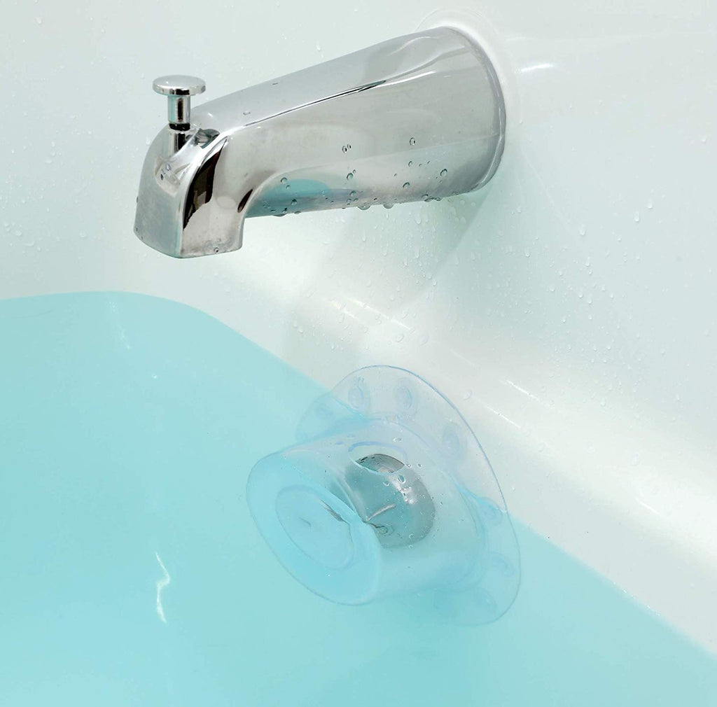 "SlipX Solutions Bottomless Bath Overflow Drain Cover Adds Inches of Water to Tub for Warmer, Deeper Bath (Clear, 4"" Diameter)"