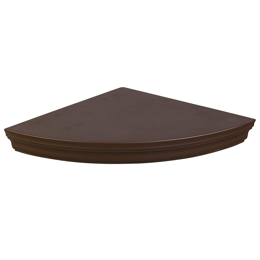 Halter Corner Floating Shelf – Space Saving Round Design with No Visible Support. 10''x 10'' Brown, Mounting Hardware In