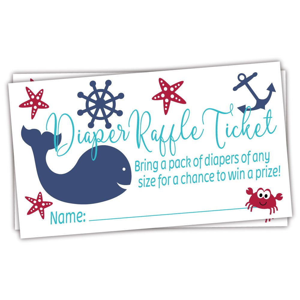 Nautical Diaper Raffle Tickets (50 Count) - Under the Sea Baby Shower Game