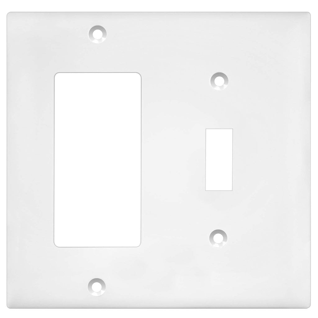 Enerlites 881131-W Decorator/Toggle Switch Wall Plate Combination, 2-Gang, White, Standard Size, Unbreakable Polycarbonate, Replacement Receptacle Fac