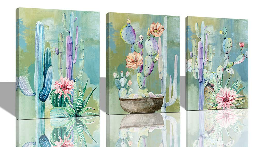 "Ardemy Canvas Wall Art Cactus Flowers 12""x16"" 3 Panels Watercolor Blue Painting, Modern Succulent Tropical Green Plants Pictures Framed Ready to Hang"