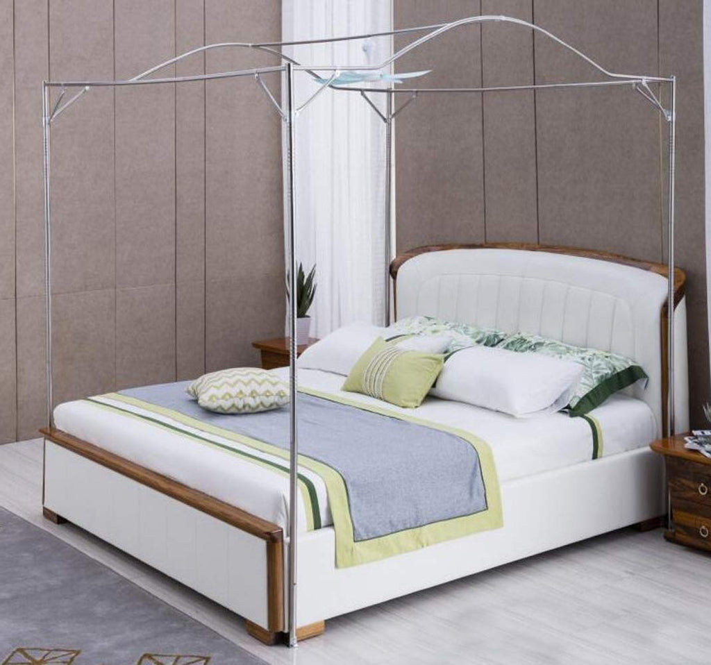 Mengersi Bedding Canopy Bed Frame Post,White (King, Silver-Arched)