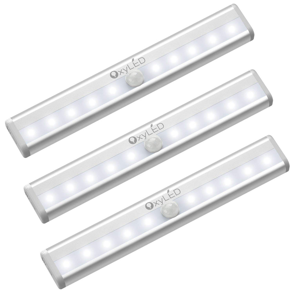 OxyLED Motion Sensor Closet Lights,Cabinet Light,DIY Stick-on Anywhere Portable Wireless 10 LED Wardrobe/Stairs/Step Light Bar,LED Night Light,Safe Li