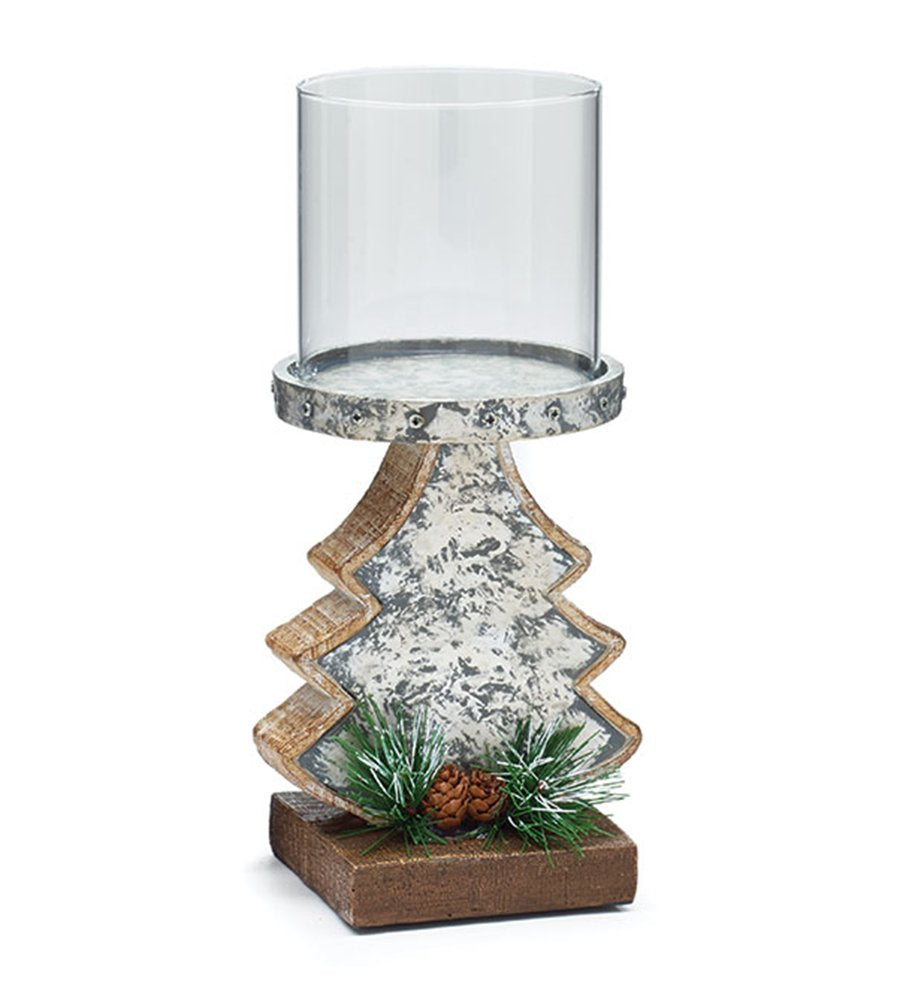 Stone Resin Christmas Tree With Pine Cones and Glass Top Candleholder