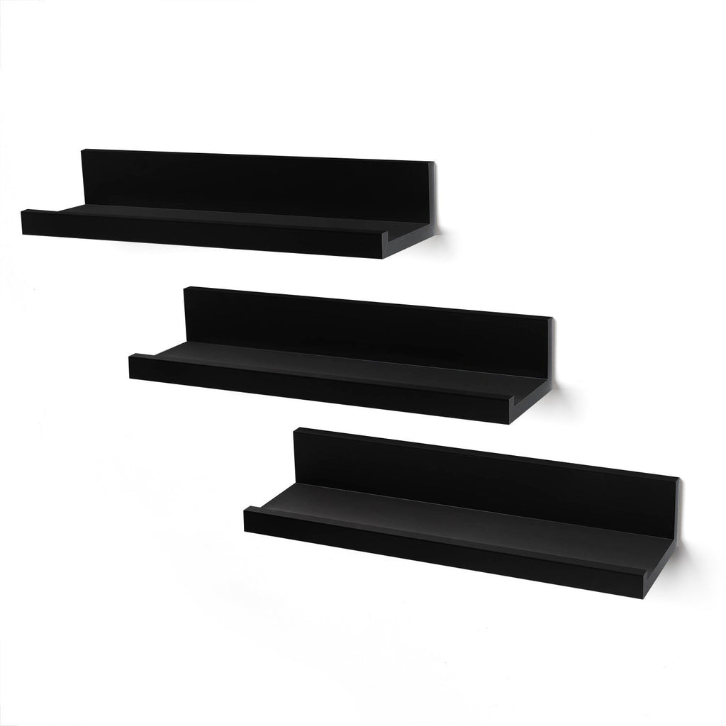 Americanflat Set of Three 14 Inch Floating Wall Shelves - Black