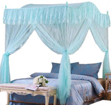 Mengersi Arched 4 Corners Post Bed Curtain Canopy Mosquito Net Square Princess Fly Screen, Indoor Outdoor (Twin, Sky Blue Flowers)
