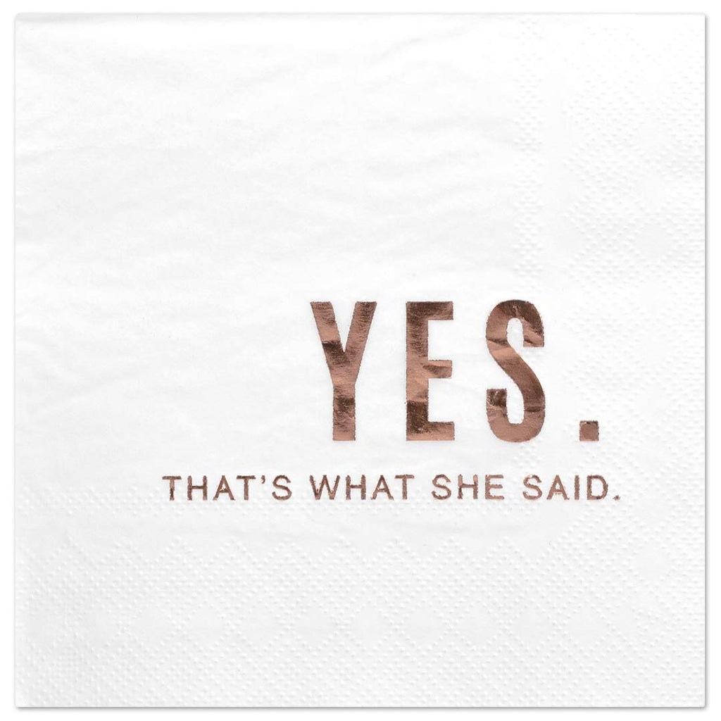 Andaz Press Yes Thats What She Said, Funny Quotes Cocktail Napkins, Rose Gold Foil, Bulk 50-Pack Count 3-Ply Disposable Fun Beverage Napkins for Engag