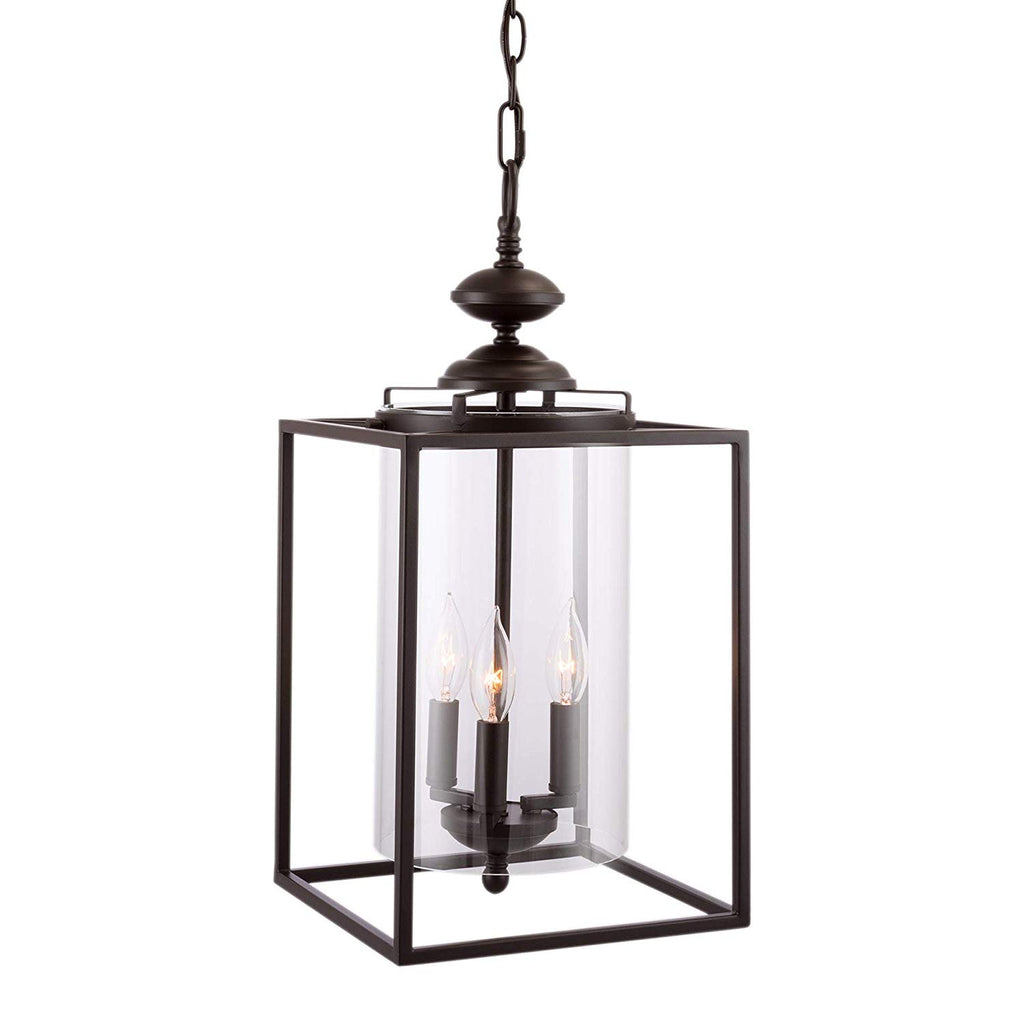 "Kira Home Pandora 21"" Traditional Foyer Lantern 3-Light Chandelier, Oil-Rubbed Bronze Finish with Clear Cylinder Shade"