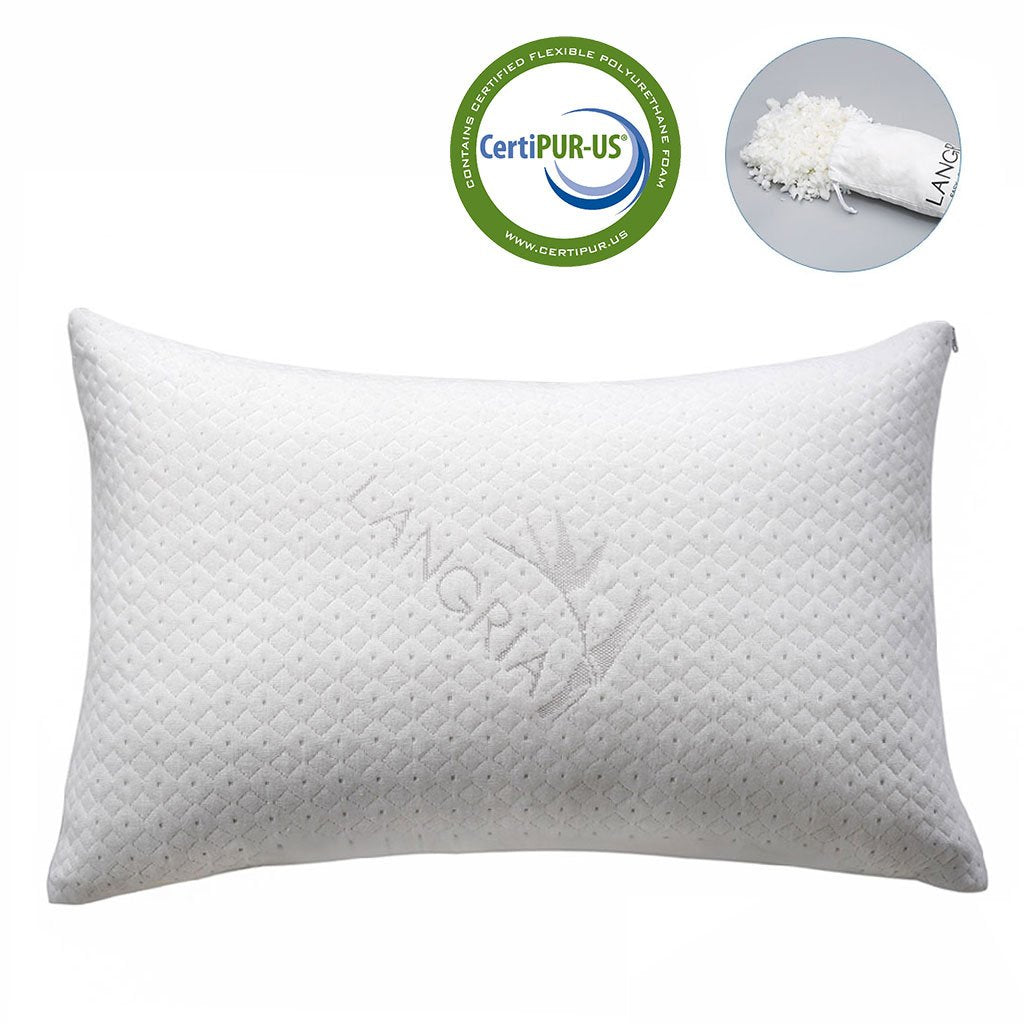 LANGRIA Luxury Bamboo Shredded Memory Foam Pillow with Zip Cover and Adjustable Viscoelastic Sleeping Pillow CertiPUR-US Approved Foam Filling Breatha