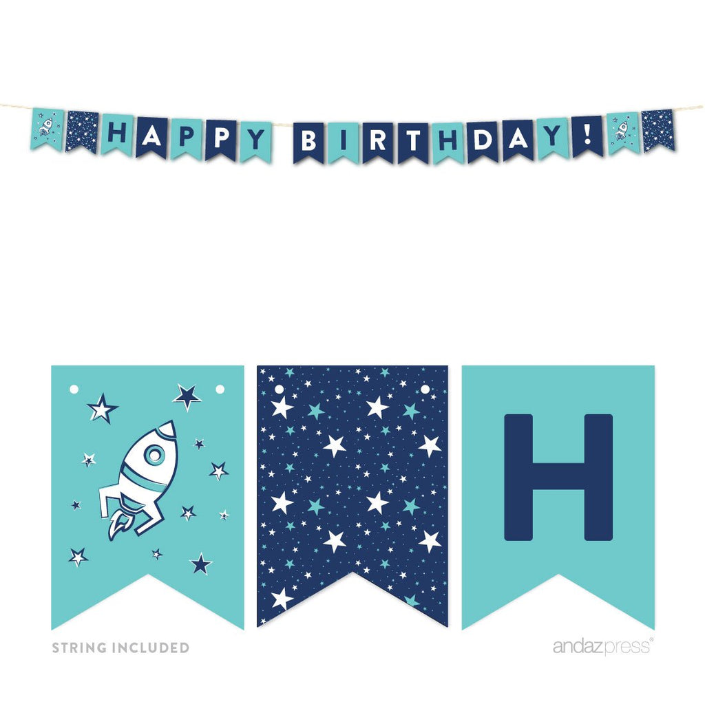 Andaz Press Space Galaxy Birthday Hanging Pennant Party Banner with String, Happy Birthday!, 1-Pack, Approx. 7-Feet, Includes String