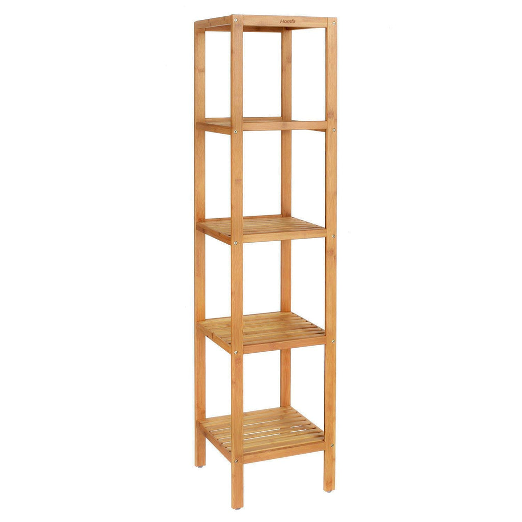 Homfa Bamboo Bathroom Shelf 5-Tier Tower Free Standing Rack Multifunctional Storage Organizer