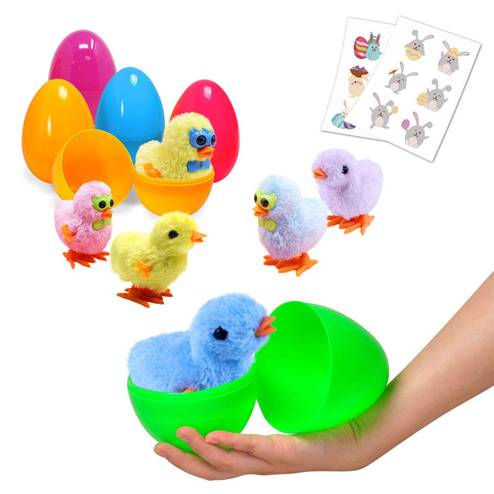 Large Surprise Eggs Filled 6 Pack Easter Eggs with Wind-Up Novelty Jumping Chics and Animal Stickers Inside, Colorful Pre Plastic Easter Eggs For Boys