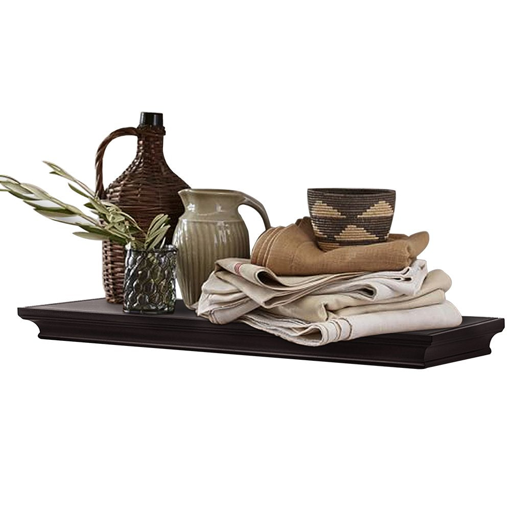 "AHDECOR Floating Shelves Wall Mounted, Deeper Wall Storage Shelf for Home Décor, Super Sturdy, Easy to Install, Espresso Brown, 36"" Wide,"