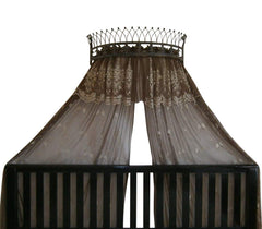 Octorose  Metal Wall Teester Bed Canopy Drapery Bed Crown Hardware (26x12x16inch) (Tiara-AntiqueGold)