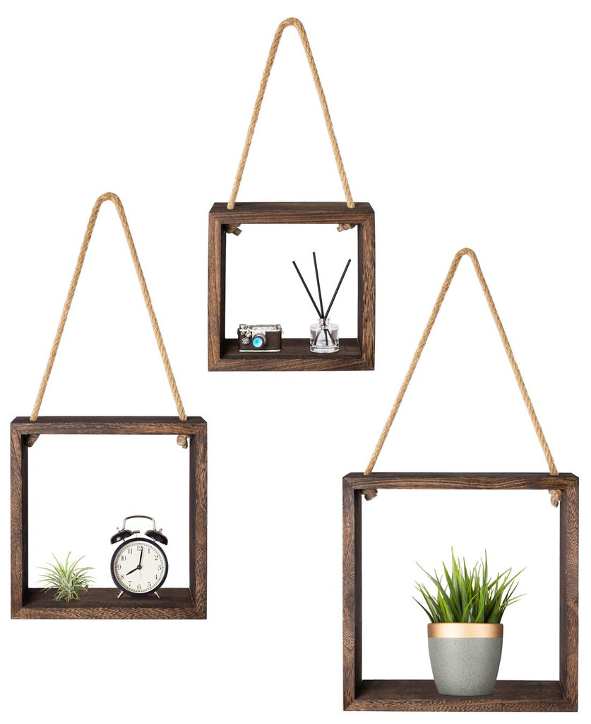 Mkono Wood Wall Floating Shelf Rustic Hanging Swing Rope Shelves, Set of 3 Wall Display Shelves Home Organizer Boho Decor Shelves for Living Room Bedr
